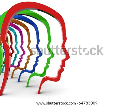 abstract 3d illustration of colrful head silhouettes over white background