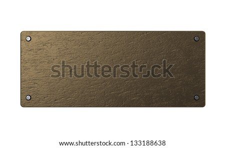 abstract 3d illustration of copper or bronze plate over white background