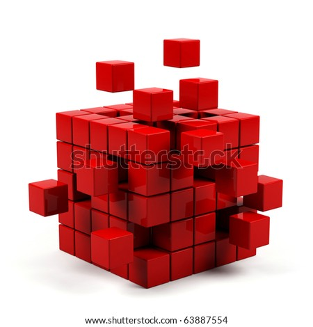 abstract 3d illustration of cube assembling from blocks