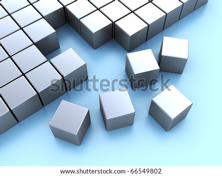 abstract 3d illustration of cube blocks construction over blue background - stock photo