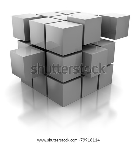 abstract 3d illustration of cube construction with blocks