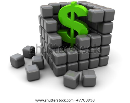 abstract 3d illustration of cube structure with dollar sign inside