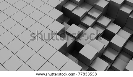 abstract 3d illustration of cubes background, gray colors