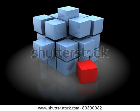 abstract 3d illustration of cubes construction