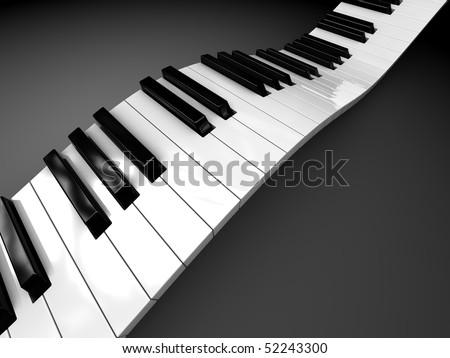 abstract 3d illustration of curved piano keyboard