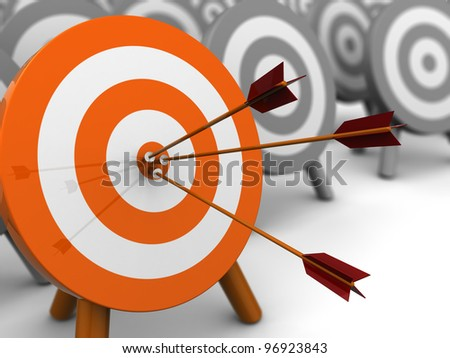 abstract 3d illustration of darts target, right target concept