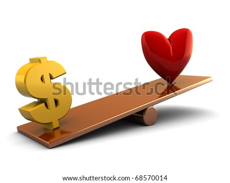 abstract 3d illustration of dollar sign and heart shape on scale board