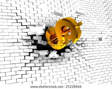 abstract 3d illustration of dollar sign breaking white brick wall - stock photo