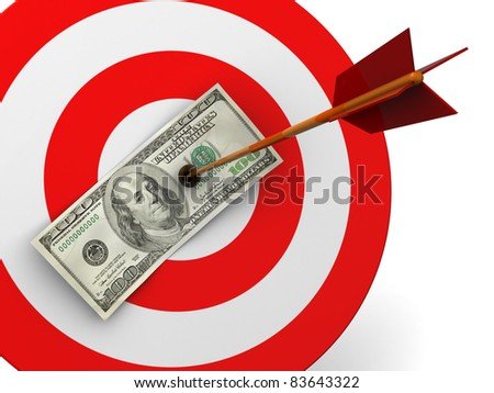 abstract 3d illustration of dollar target hit with arrow