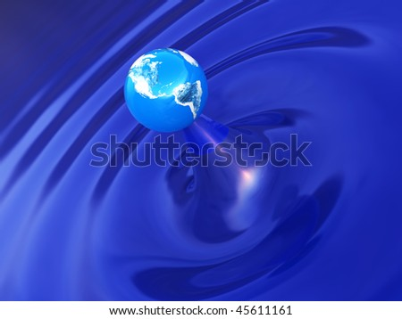 abstract 3d illustration of earth and water ripple
