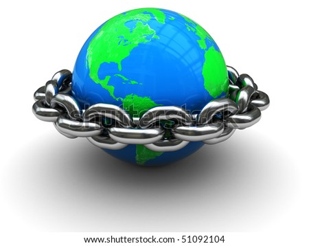 abstract 3d illustration of earth globe closed by chain ring