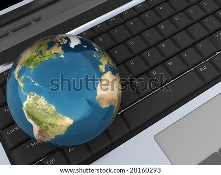 abstract 3d illustration of earth globe on laptop keyboard