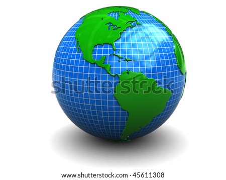 abstract 3d illustration of earth globe over white background