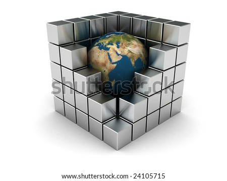 abstract 3d illustration of earth in steel cubes, industry symbol
