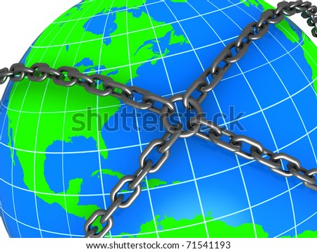 abstract 3d illustration of earth locked with chains