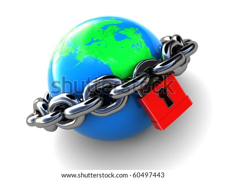 abstract 3d illustration of earth with chains and lock, over white background