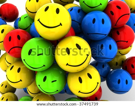 abstract 3d illustration of emotion icons background #37491739