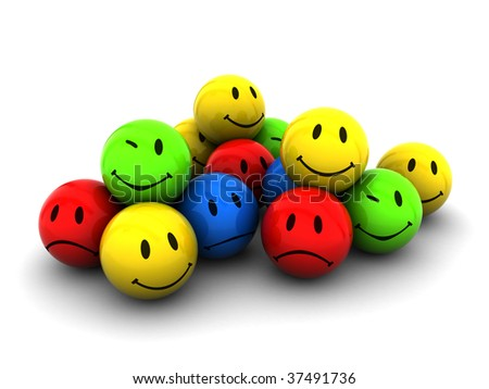 abstract 3d illustration of emotion icons over white background #37491736