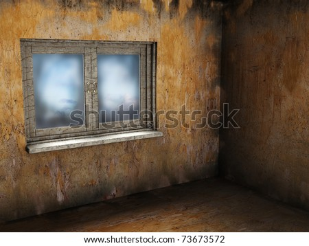 abstract 3d illustration of empty grunge room with window