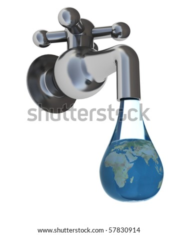 abstract 3d illustration of faucet and water drop with earth globe inside