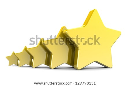abstract 3d illustration of five stars over white background