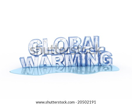 Abstract 3d illustration of frozen text global warming stock photo