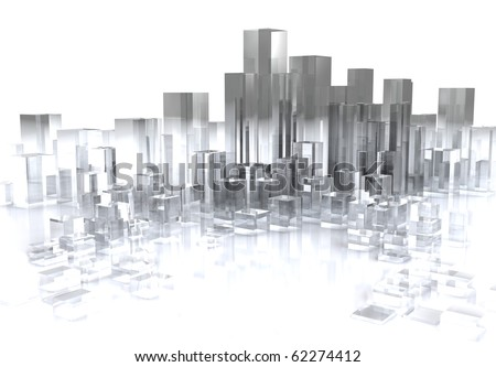 abstract 3d illustration of glass city over white background