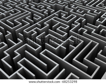 abstract 3d illustration of gray maze background