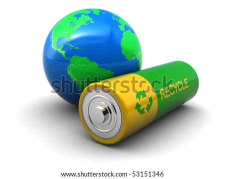 abstract 3d illustration of green battery with earth globe, over white background
