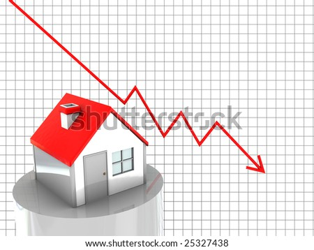 abstract 3d illustration of house price diagram