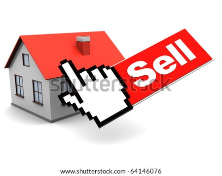 abstract 3d illustration of house selling over internet concept