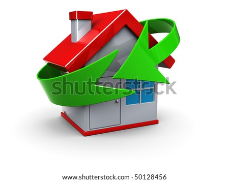 abstract 3d illustration of house with green arrow cycle symbol