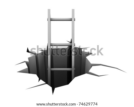 abstract 3d illustration of ladder in hole