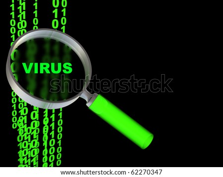 abstract 3d illustration of magnify glass and binary code, with sign 'virus', over black background