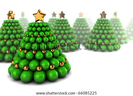 abstract 3d illustration of many Christmas trees over white background