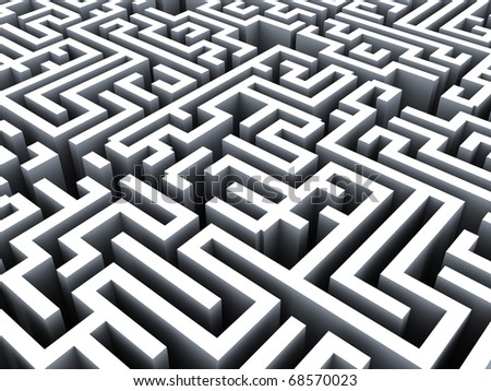 abstract 3d illustration of maze background, grayscale