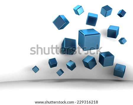 Stock Photo abstract 3d illustration of metal cubes over white background
