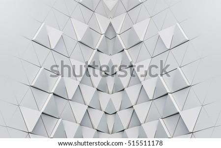Stock Photo Abstract 3d illustration of modern aluminum ventilated facade of triangles