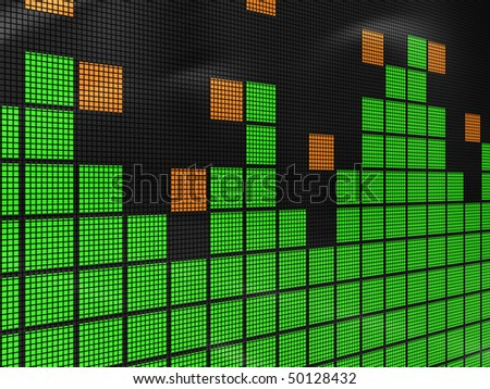 abstract 3d illustration of music spectrum display background - stock photo