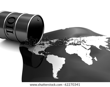 abstract 3d illustration of oil barrel and world map, pollution concept
