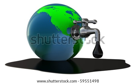 abstract 3d illustration of oil faucet in earth globe