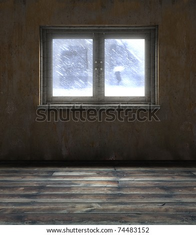 abstract 3d illustration of old room window - stock photo