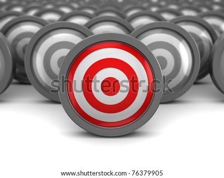 abstract 3d illustration of one right target and many wrong
