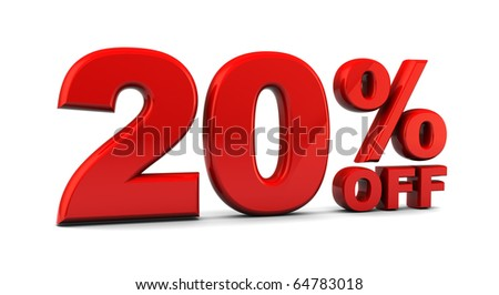 abstract 3d illustration of 20 percent discount sign, over white background