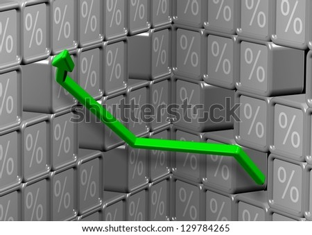 Abstract 3d illustration of percent symbol and green arrow / Interest rates percentage