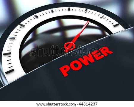 abstract 3d illustration of power scale with reflections, dark background
