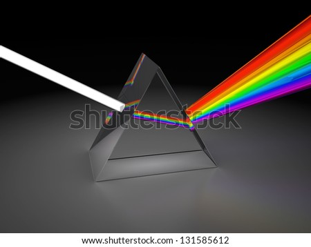abstract 3d illustration of prism dividing light