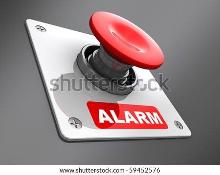 abstract 3d illustration of red 'alarm' button mounted on wall
