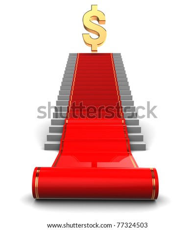 abstract 3d illustration of red carpet stairs to dollar award