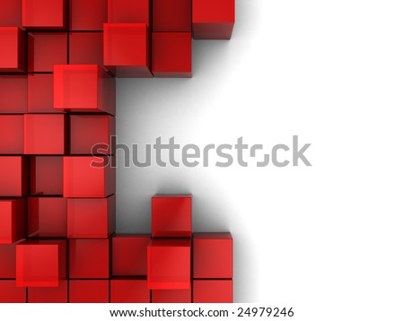 abstract 3d illustration of red cubes, blocks background